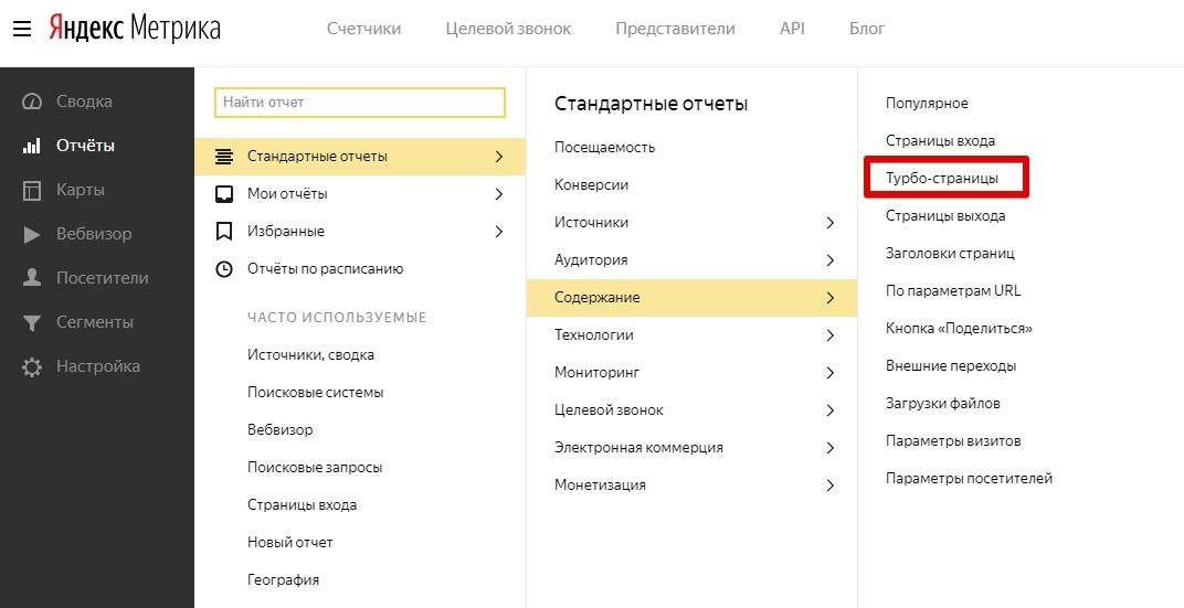 Яндекс добавил в метрику новый отчёт для турбо-страниц